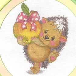 画像1: 【ラスト1点 再入荷なし】クロスステッチキット とんがりハリネズミちゃんとリンゴ