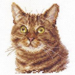 画像1: クロスステッチキット ヨーロピアンショートヘア 猫 (Alisa АЛИСА アリサ 0-135)