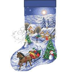画像1: ビーズ刺繍 クリスマスソックス スノークリスマス 全面刺し