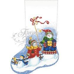画像1: ビーズ刺繍 クリスマスソックス スノーマン