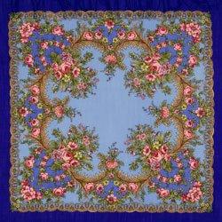 画像1: Pavlovo Posad Shawl 89×89 ウールフリンジ Nightfall ロイヤルブルー