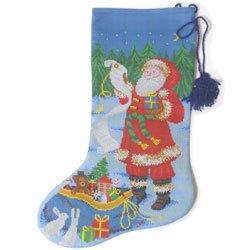 画像1: ビーズ刺繍 クリスマスソックス サンタクロース 全面刺し