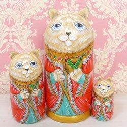 画像1: マトリョーシカ 猫の皇帝 レッド