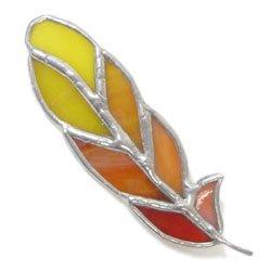 画像1: ステンドグラス ブローチ 羽