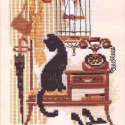 画像1: クロスステッチ キット (RIOLIS・リオリス・860) 猫と電話
