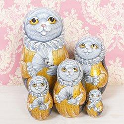 画像1: マトリョーシカ スペードの女王の猫  (シルバー пиковая дама プーシキン)