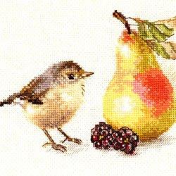 画像1: クロスステッチ キット 小鳥と梨  (Alisa АЛИСА アリサ 5-23)