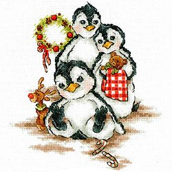 画像1: クロスステッチキット ペンギン家族のクリスマス